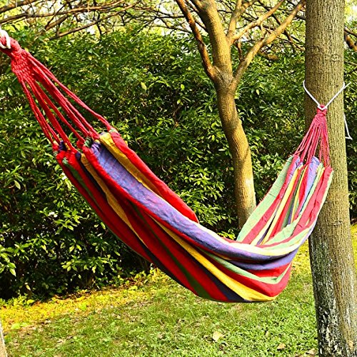 arctic-monsoon-double-hammock-2-person-portable-cotton-fabric-canvas-hanging-bed-hammock-red