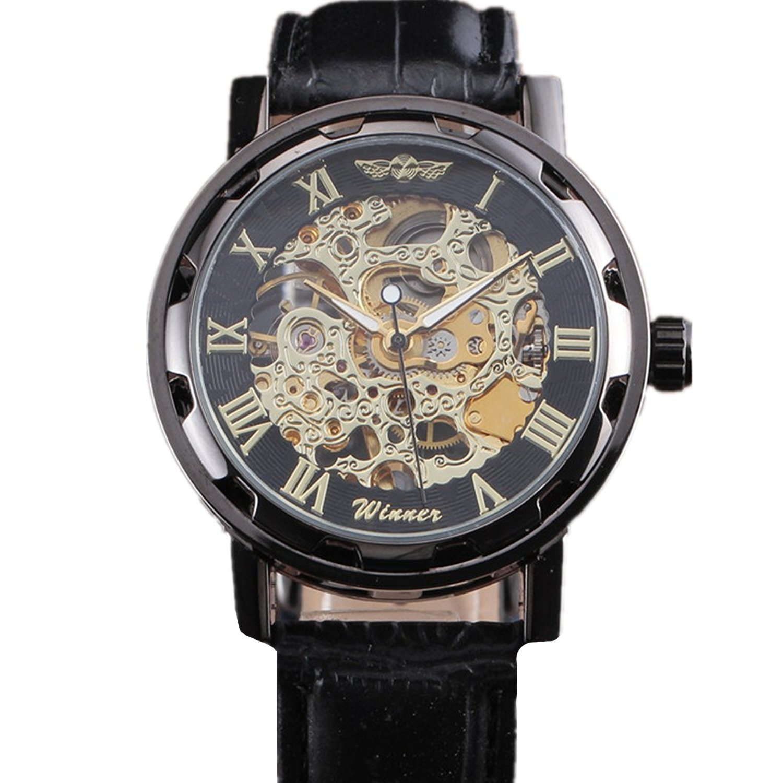 Winnerクラシックメンズレザーダイヤルスケルトン機械スポーツArmy腕時計 B06Y655D4R