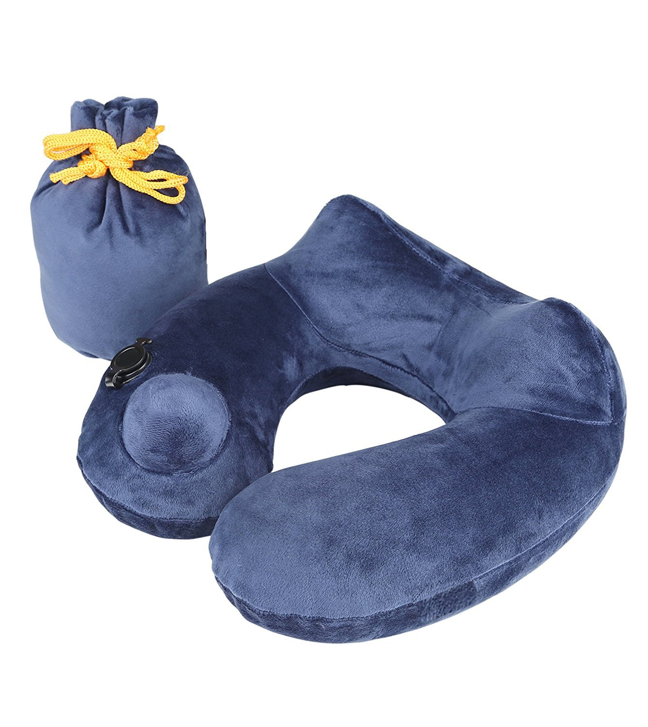 *FLASH SALE* Travel Pillow Luxuriously Soft Inflatable Neck Pillow Support-Compact & Lightweight for Sleeping on Airplane, Car, and Train . Carrying Bag-Soft & Ergonomic One Size Design