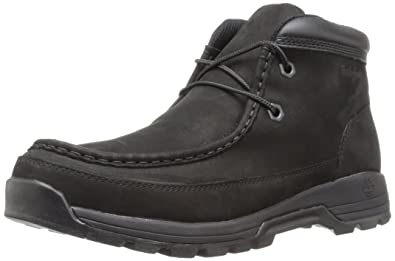 Timberland Men's Stratmore Moc Toe Boot, Black Nubuck, 7 M US