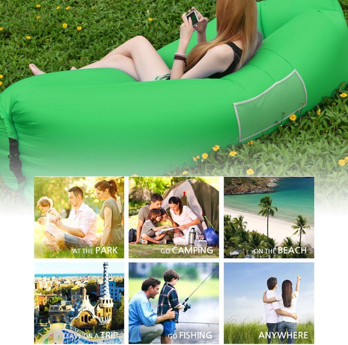 IsEasy Hamac Gonflable Canap/é avec Oreiller Int/égr/é et Sac de Rangement pour Voyage//Piscine//Camping//Plage Canap/é Gonflable Confortable Chaise de Lit pour Relaxation.