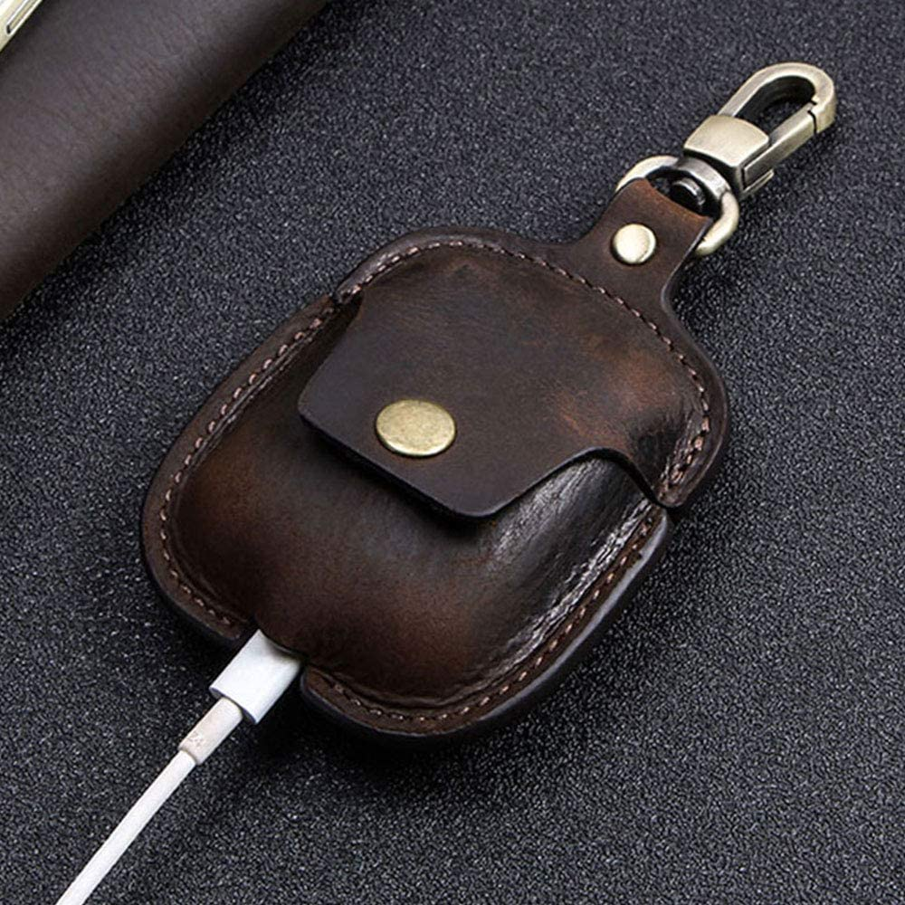 AC100, Brown Genuine Leather Airpods Case//Cover Keychain,Headphone Cases with Wireless Charging Case for AirPods 1 /& 2