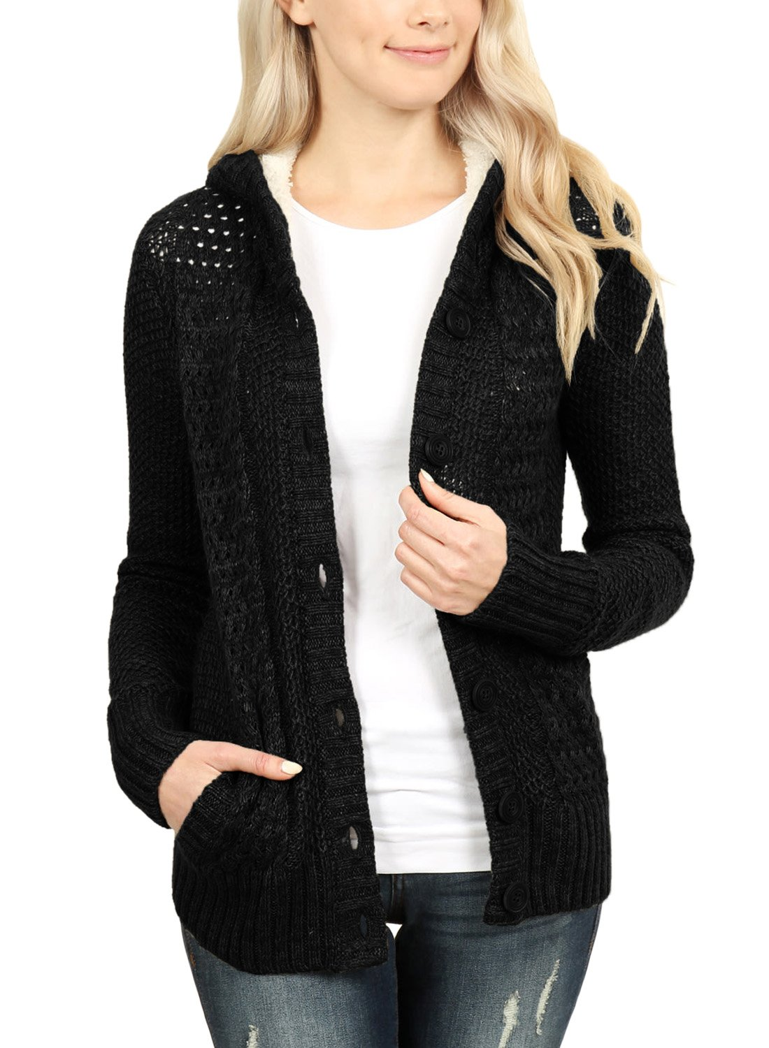 Sidefeel Women Hooded Sweater Cardigans Button Knit Coat Outwear XX-Large Black