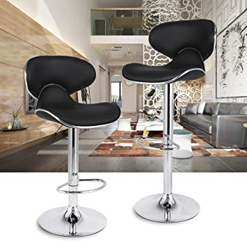 Amazon.com: LANGRIA Bar Stools Set Counter Height Adjustable Swivel ...
