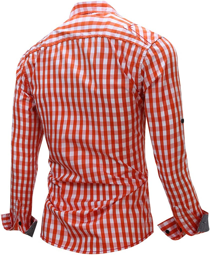Bmeigo Mens Cotton Casual Long Sleeve Large Grid Button Down Shirt