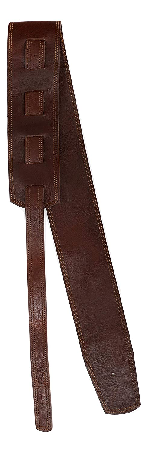 WerKens Genuine Leather adjustable Guitar Strap, Brown - 3.00 inch Wide perfect for Electric,Acoustic,Classical and Bass Guitars WKGS0001