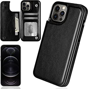iMangoo Folio Cover for iPhone 12 Pro Wallet Case Compatible with iPhone 12 Case 2020 6.1'' PU Leather ID Credit Card Slot Cash Pocket Card Holder Magnetic Closure Flip Cases Black
