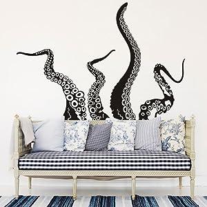 MoharWall Octopus Tentacles Wall Decals Sticker Kraken Sea Creature Monster Animals Vinyl Art Decor Bathroom Living Room Bedroom Marine Biologist