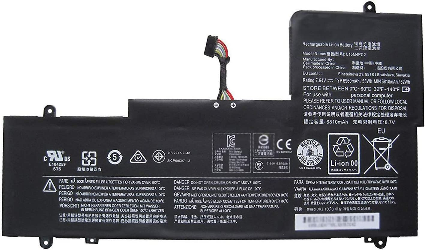 Dentsing 7.64V 53Wh/6960mAh L15M4PC2 Laptop Battery Compatible with Lenovo Ideapad Yoga 710-14IKB 710-14ISK 710-15IKB 710-15ISK Series Series Notebook 5B10K90778 L15L4PC2 5B10K90802