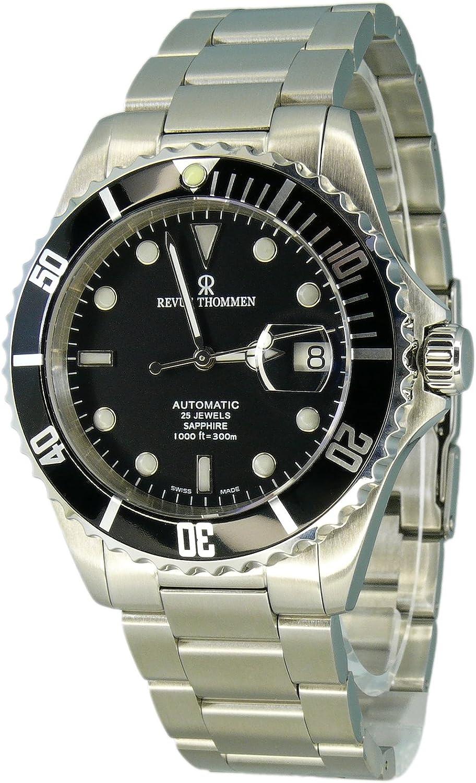 Revue Thommen Diver 17571,2137 - Reloj analógico automático para Hombre, Correa de Acero Inoxidable Color Plateado