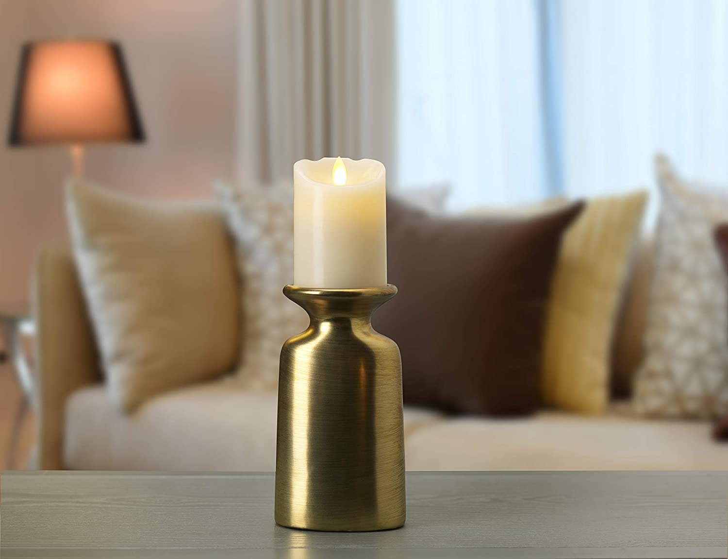 8 inch Scott Living Luxe Matte Gold Ceramic Candle Holder