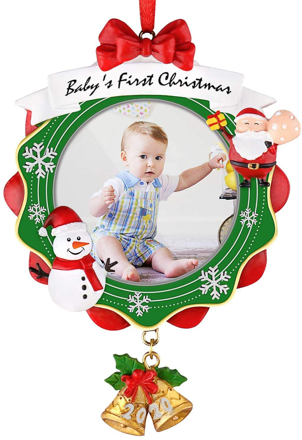 Baby's First Christmas Picture Frame, Chrismas Ornament 2020 Year Dated, My Very First Christmas Baby Photo Frame, Picture Frame, Personalized