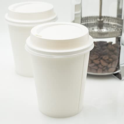 Amazon Com Golden Apple Disposable Paper Coffee Cups 8 Oz Cups Lids Quantity 50 Cups Per Pack Perfect For On The Go Hot Or Cold Beverages Kitchen Dining