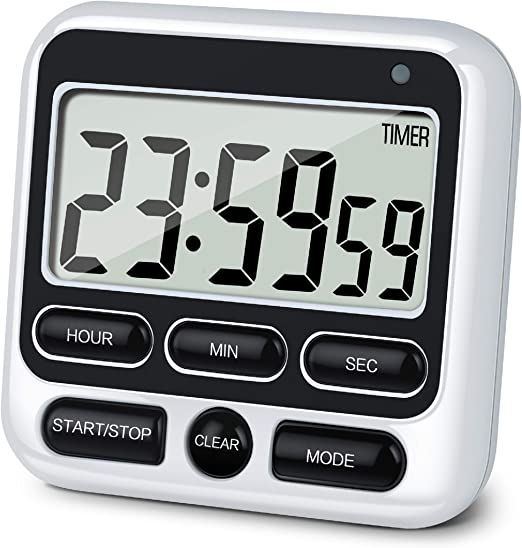 Amazon.com: KTKUDY Digital Kitchen Timer with Mute/Loud Alarm Switch ON/Off Switch, 12 Hour Clock & Alarm, Memory Function Count Up & Count Down for Kids Teachers Cooking, Large LCD Display, Strong Magnet (