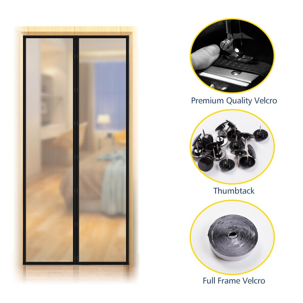 [Upgraded Version] Magnetic Screen Door with Thermal and Insulated EVA,Transparent Door Curtain Enjoy Cool Summer & Warm Winter Help Saving Electricity & Money, Fits Door Size up to 34''x82'' Max- Black by EasyLife185 (Image #6)