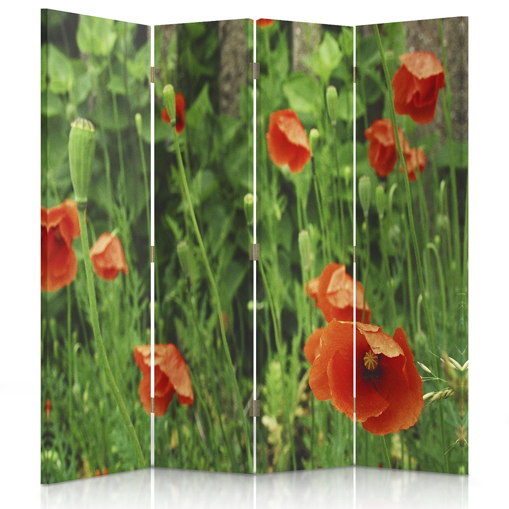 GREEN Paravent Feeby Frames Canvas Screen 145x150 cm Decorative Room Divider POPPY FLOWERS PLANTS RED NATURE 4 panels Double sided