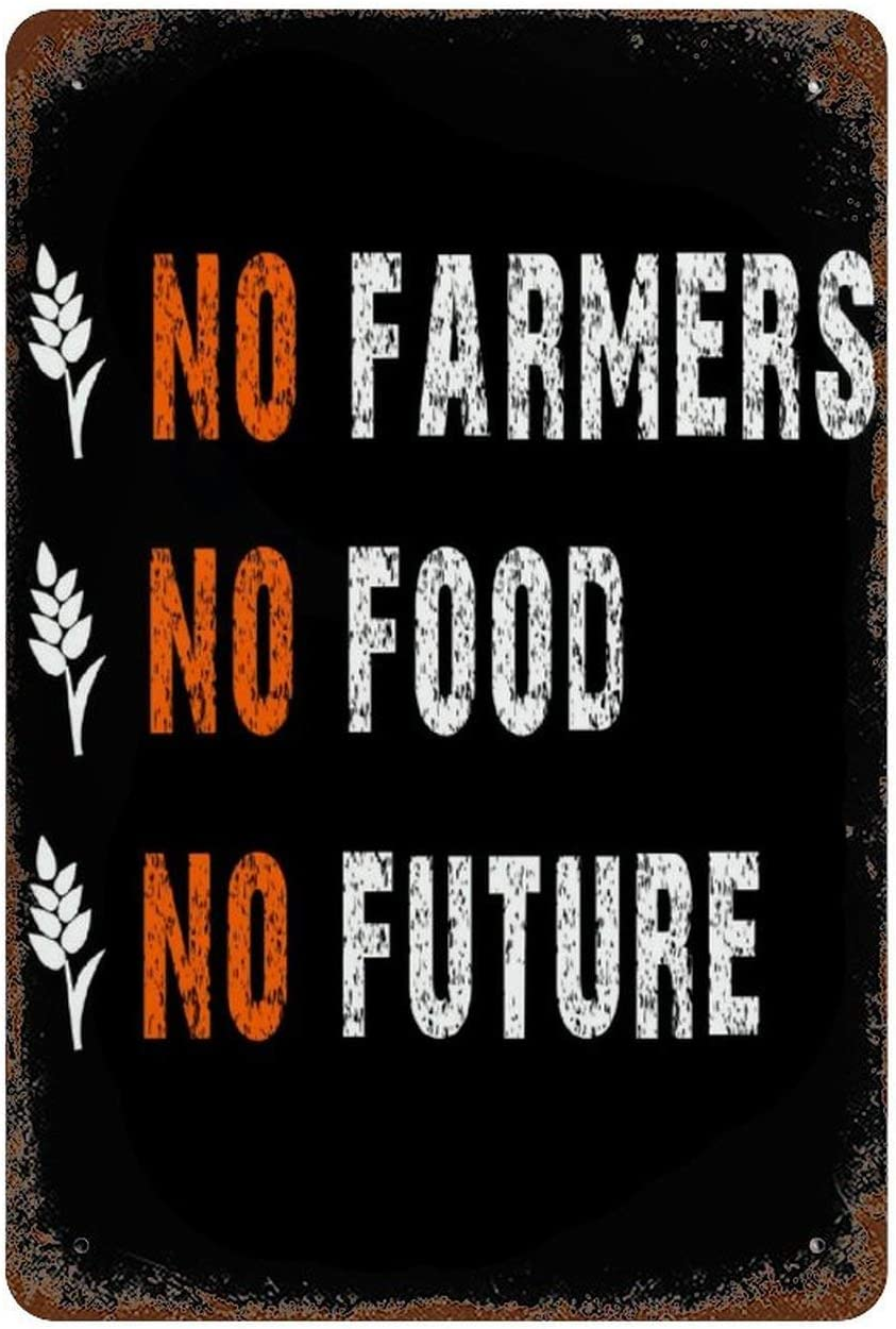 Original Retro tin sign Painting Hanging Pictures Farmhouse Decor Metal Signs Poster No Farmers No Food Sign wall art for Kitchen Home Coffee Garage Bar Shop Funny Retro Wall Art Sign W8xH12 Inch