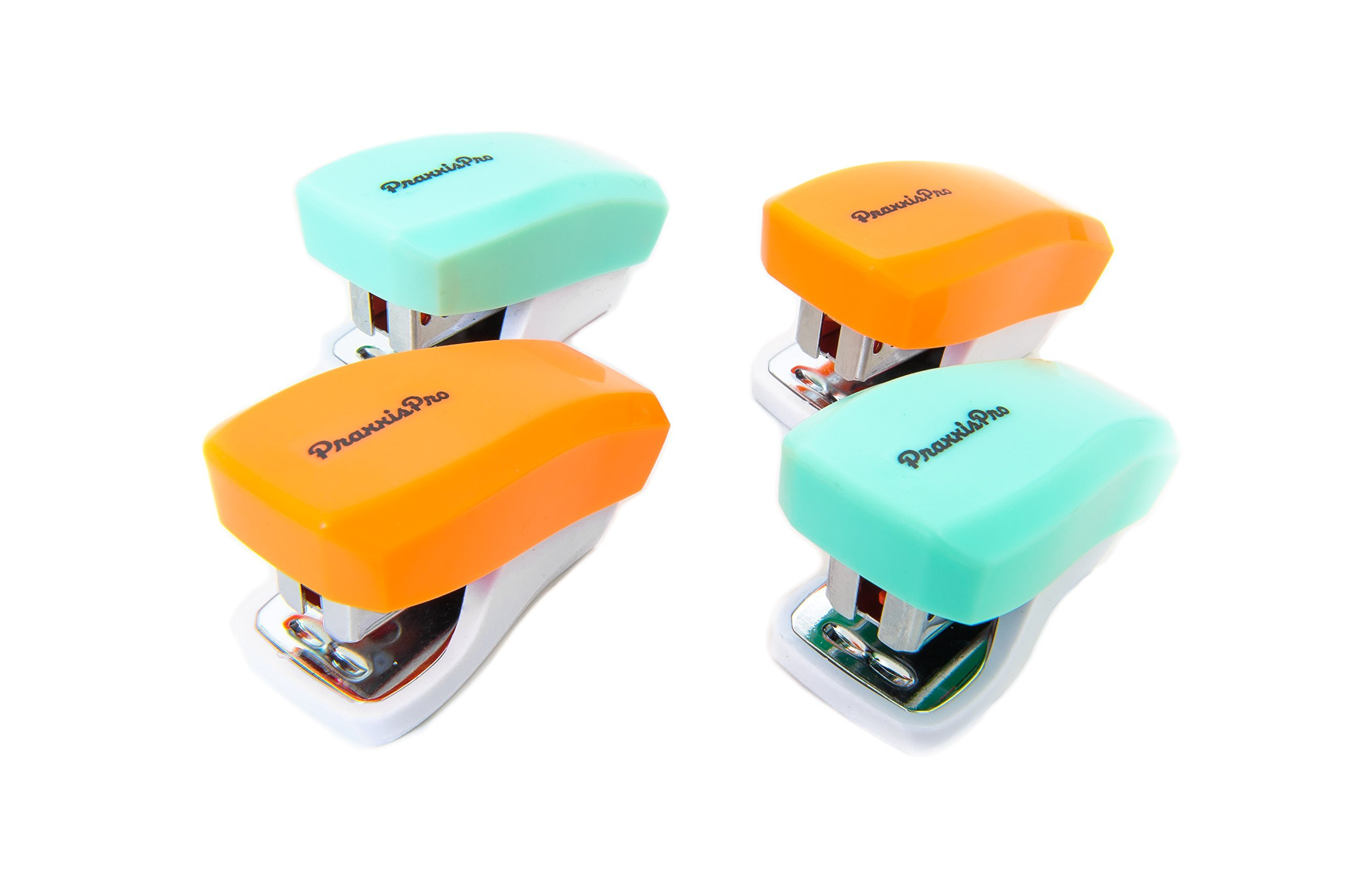 PraxxisPro Stapler Set, Mini Staplers, Built-In Staple Remover, Set of 4 (Creamsicle and Daiquiri Ice)