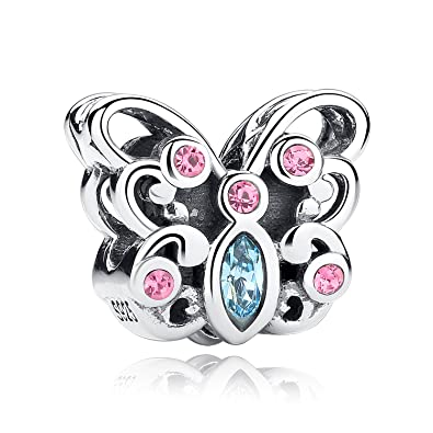Sterling Silver Butterfly Bead Charms Sep Birthstone with Czech Crystal Charms fit Snake Chain Bracelets sLVop