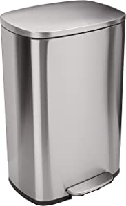 AmazonBasics Rectangle Soft-Close Trash Can - 50 Liter, Satin Nickel