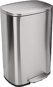 AmazonBasics Rectangle Soft-Close Trash Can - 50 Liter, Satin Nickel