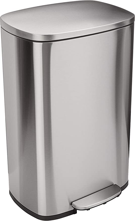 AmazonBasics Rectangle Soft-Close Trash Can - 50L, Satin Nickel ...
