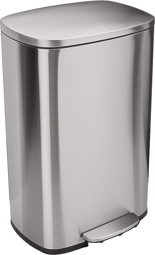 AmazonBasics Rectangle Soft-Close Trash Can - 50L, Satin Nickel ...