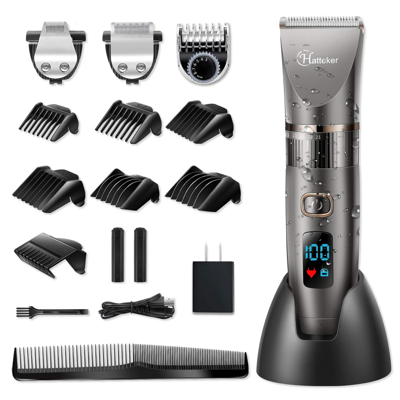 Hatteker Men's Beard Cordless Hair Trimmer Clipper Detail 3 In 1 Cutting Kit Grooming Waterproof   Black Hair Clippers