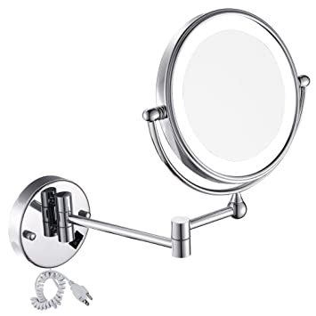 Amazon gurun 8 inches led lighted wall mount makeup mirror with gurun 8 inches led lighted wall mount makeup mirror with 7x magnification double sided 360 aloadofball Gallery