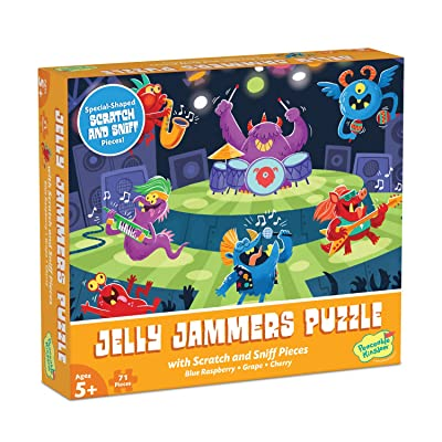 Peaceable Kingdom Scratch & Sniff Puzzles – Rock Monsters Jelly Jammers - 71pc Sensory Puzzle for Kids Ages 5 & up - Blue Raspberry, Grape & Cherry scents - Great for classrooms: Toys & Games