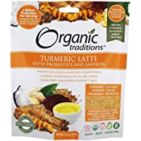 Organic Traditions Turmeric Latte Powder with Probiotics and Saffron, 150 Grams