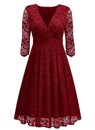 Arolina Womens Surplice V-Neck Retro Floral Lace Evening Dresses - Red -