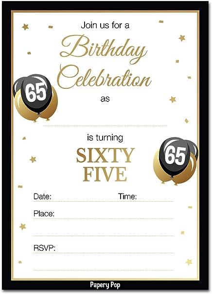 Amazon 65th Birthday Invitations With Envelopes 30 Count