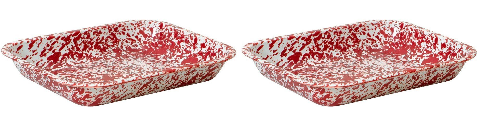 Crow Canyon - Set of 2 Enamelware Large 3 Quart Roasting Pans (Red Marble)