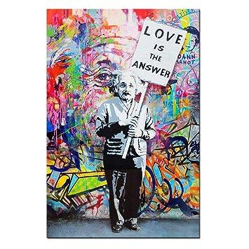 Dingdong Art Framed Art Einstein Poster Love Is The Answer Wall Art Painting Abstract Street Graffiti Art Canvas Artwork For Living Room Decor 1 Pcs