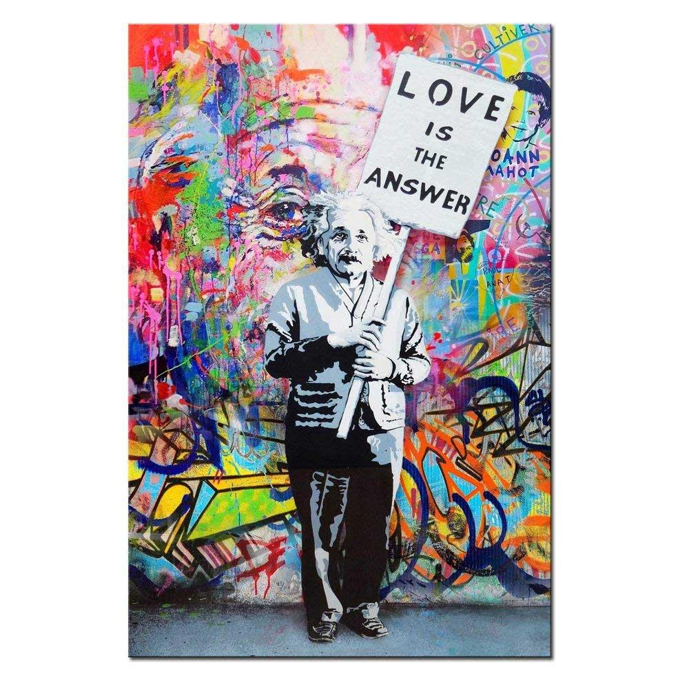 DINGDONG ART- Framed Einstein Poster ''Love is the answer'' Wall Art Painting Abstract Street Graffiti Art Canvas Artwork for Living Room Decor 1 Pcs (16''x24''(40cmx60cm))