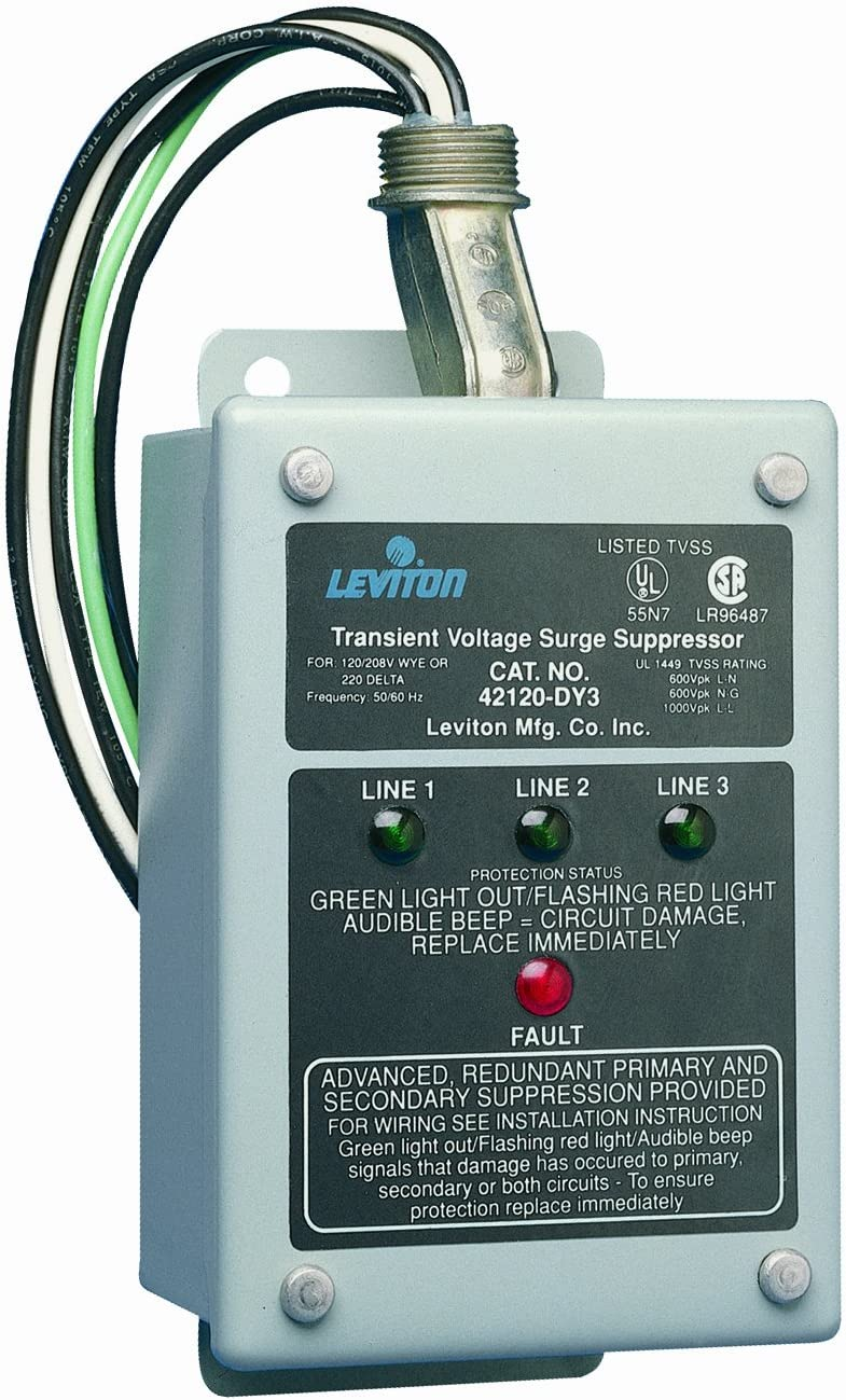 Leviton 42120-DY3 120/208 Volt 3-Phase WYE, 220V 3-Phase Delta Panel Protector, 4-Mode Protection, Compatible with Decora Home Controls