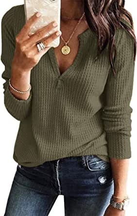 Famulily Womens Casual V Neck Cozy Waffle Sweatshirts Knitted Pullover Sweater Tops Autumn Winter Long Sleeves Jumper Jersey Blouse Sweatshirt with Pockets