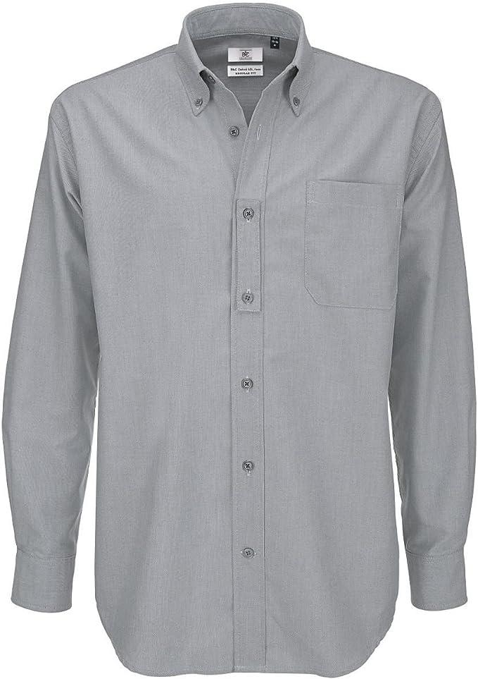 Camisa B&C para hombre, tela Oxford, de manga larga, camisas para hombre Plateado Silver Moon XL: Amazon.es: Ropa y accesorios