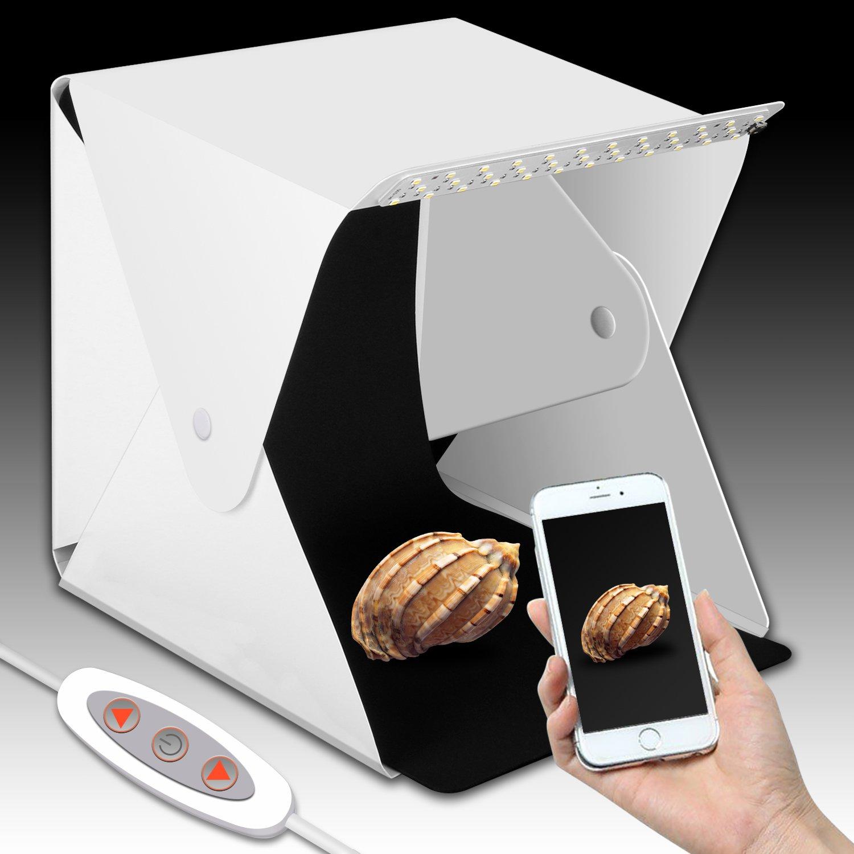 Upgraded Version Portable Photography Studio, Zenic Mini Portable and Folding Photo Light Box Studio Photo Photography Tent Kit with LED Light and Background (9.5 x 9 x 9.8 inches)