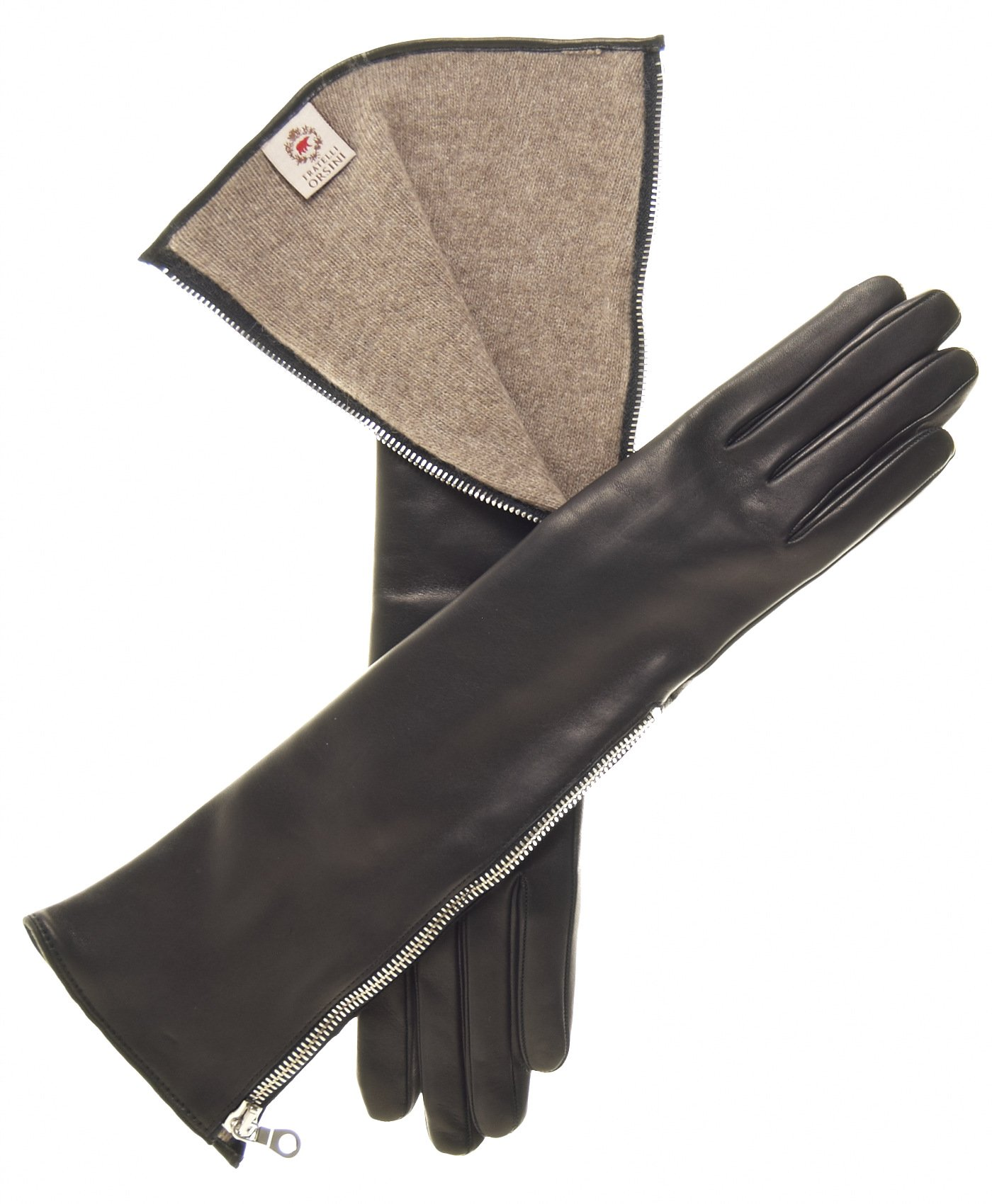 Fratelli Orsini Women's Elbow Length Cashmere Lined Gloves with Zipper Size 8 Color Black
