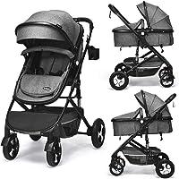 INFANS Baby Stroller for Newborn, 2 in 1 High Landscape Convertible Reversible Bassinet Pram for Infant & Toddler…