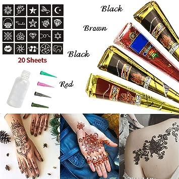 Skymore Temporary Tattoos Kit Tattoo Paste Cones Body Colors Body