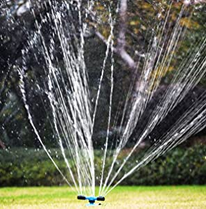 Wemaker Lawn Sprinkler, Automatic Garden Water Sprinklers Lawn Irrigation System 3600 Square Feet Coverage Rotation 360°Rotating Arm Sprayer Water Hose Sprinkler Head for Yard, Lawn