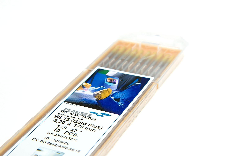 10 Stü ck WIG Wolfram Elektroden WL15 GOLDplus Ø 3, 2 x 175 mm Nadeln (Thoriumfrei) Plansee SE