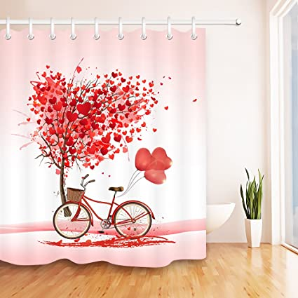 LB Valentines Day Shower Curtain Set Red Love Heart Tree Balloon Bicycle Decor Pink Bathroom Curtains