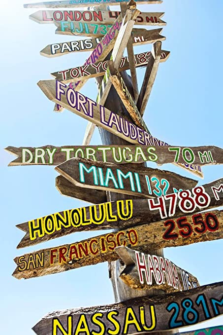Key West Florida Wooden Directional Signs Photo Art Print Poster 30x46 cm inch