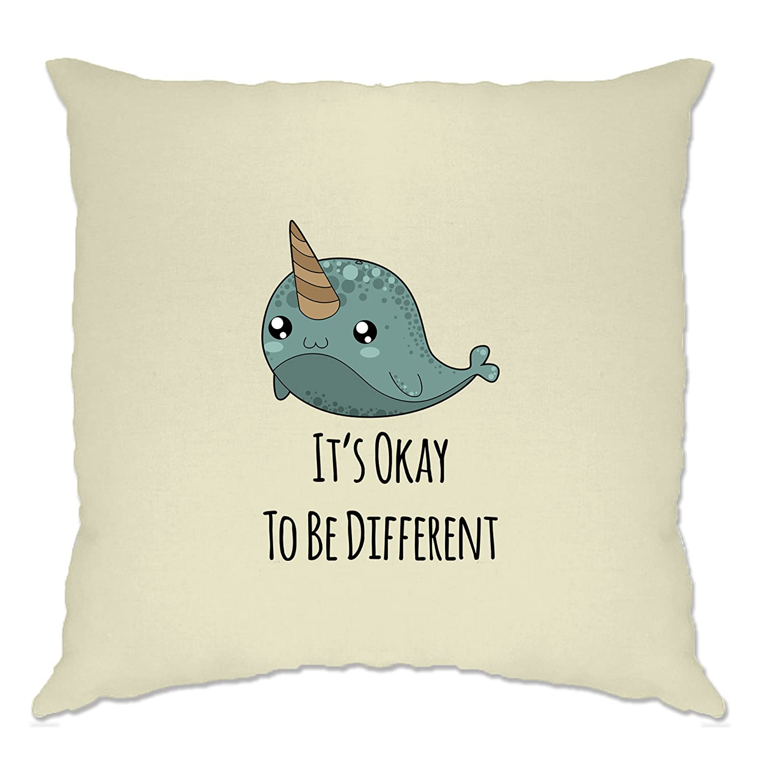 Amazon.com: Tim And Ted Cute Narwhal Cushion Cover Its Okay To Be Different Slogan White One Size: Home & Kitchen