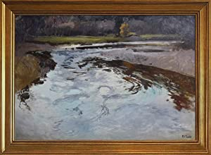 Berkin Arts Classic Framed Frits Thaulow Giclee Canvas Print Paintings Poster Reproduction(The River at Beaulieu) #JK