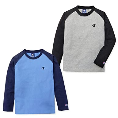 412947d1e8efb (グレー 140cm)子供服 男の子 Tシャツ 長袖 Champion チャンピオン 天竺 ロゴ刺繍